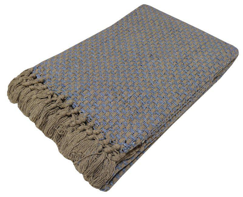 Ριχτάρι ΚΟΜΒΟΣ Βαμβακερό Διθέσιου 180×250 Ψάθα Καφέ / Μπλέ