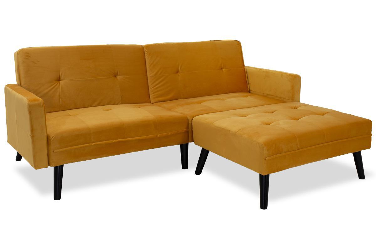 Γωνιακός καναπές-κρεβάτι με σκαμπό Dream pakoworld κίτρινο βελούδο 209×87-195×80εκ