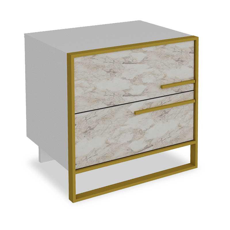 Κομοδίνο PWF-0298 pakoworld χρώμα λευκό μαρμάρου-χρυσό 50×38.5×52εκ