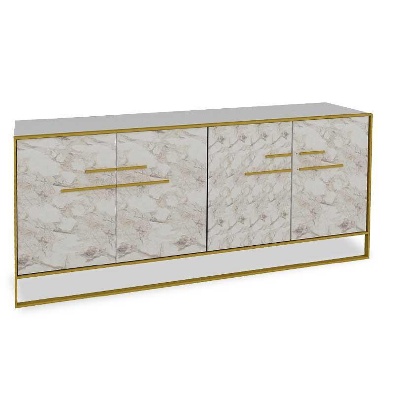 Μπουφές PWF-0298 pakoworld χρώμα λευκό μαρμάρου-χρυσό 180×47,5×75εκ