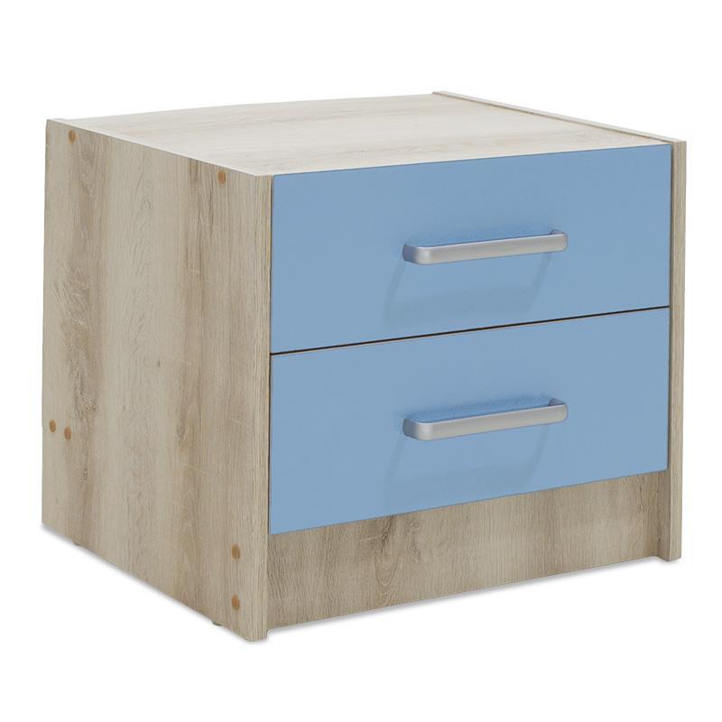 Κομοδίνο παιδικό Looney pakoworld με 2 συρτάρια χρώμα castillo-μπλε 47,5×40,5×40,5εκ