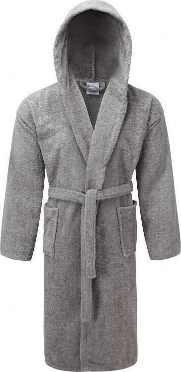 Μπουρνούζι ΚΟΜΒΟΣ Πετσετέ με κουκούλα Grey Large