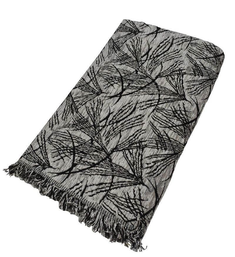 Ριχτάρι ΚΟΜΒΟΣ Σενιλ Διθέσιου 180×240 Leaf Black