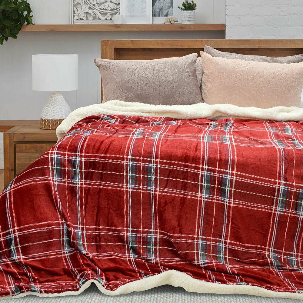 Lino Κουβέρτα Υπέρδιπλη 220×240 Sherpa Mirrori Red