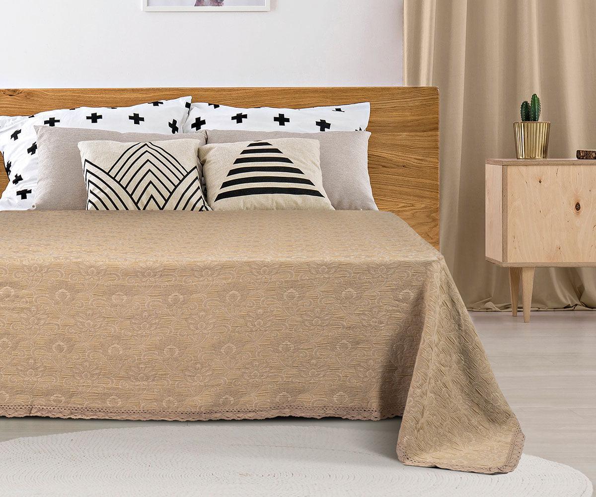 Κουβέρτα ζακάρ Art 1349 με δαντέλα μονή σε 5 χρώματα 170x250 Antique Beauty Home