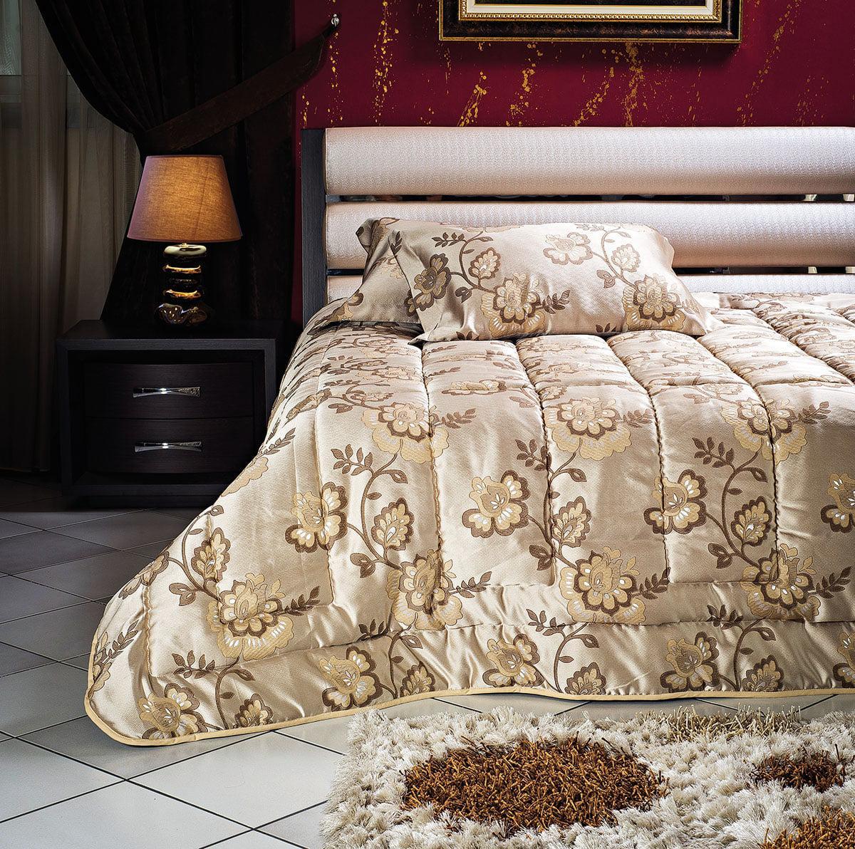 Σετ πάπλωμα υπέρδιπλο Art 1447 220×240 Εμπριμέ,Χρυσαφί Beauty Home