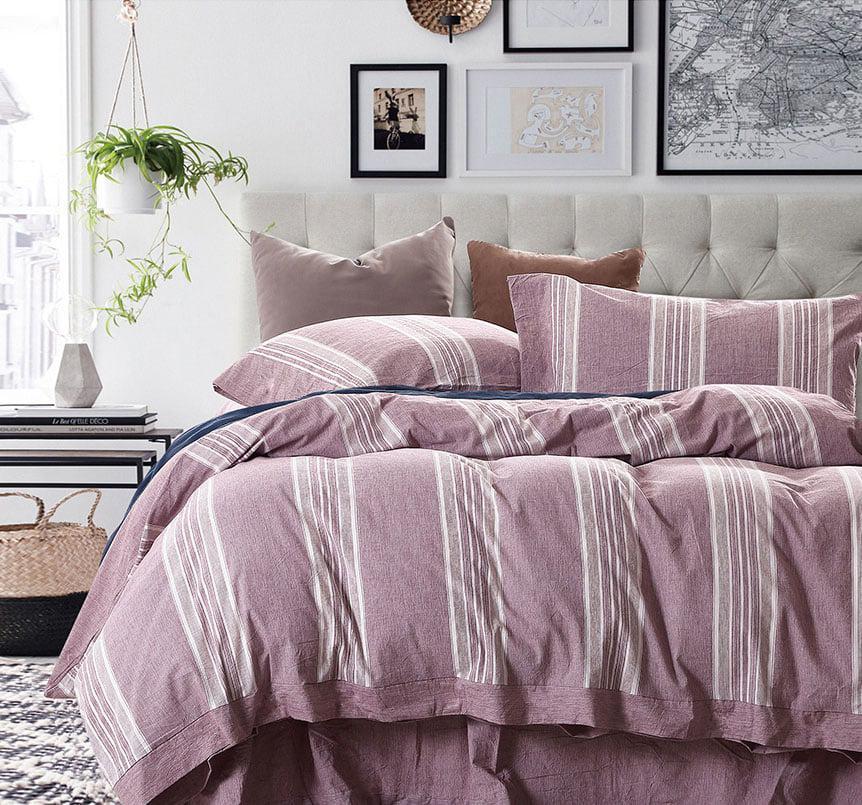 Σετ παπλωματοθήκη υπέρδιπλη/S Grooves Art 1612 220×240 Ροζ Beauty Home
