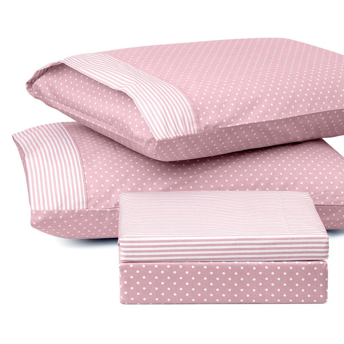 Σετ πάπλωμα υπέρδιπλο πουά JOY Art 1680 220×240 Ροζ Beauty Home