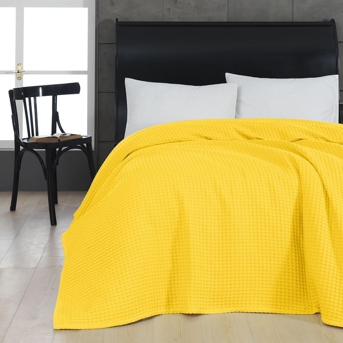 Πικέ υπέρδιπλη waffle Art 1990 Yellow 230×240 Κίτρινο Beauty Home