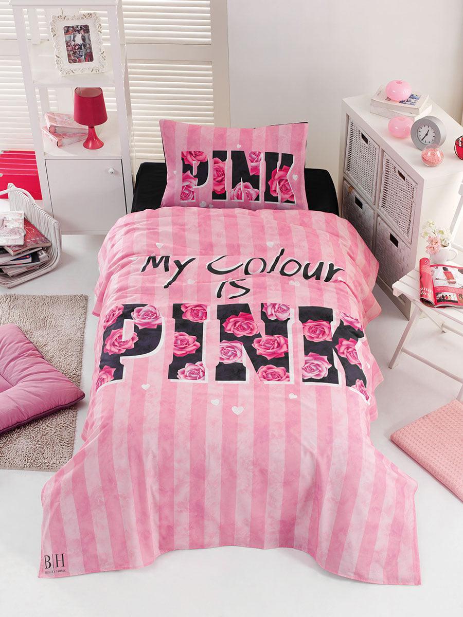 Σετ κουβερλί μονό Pink Art 6113 160x240 Ροζ Beauty Home