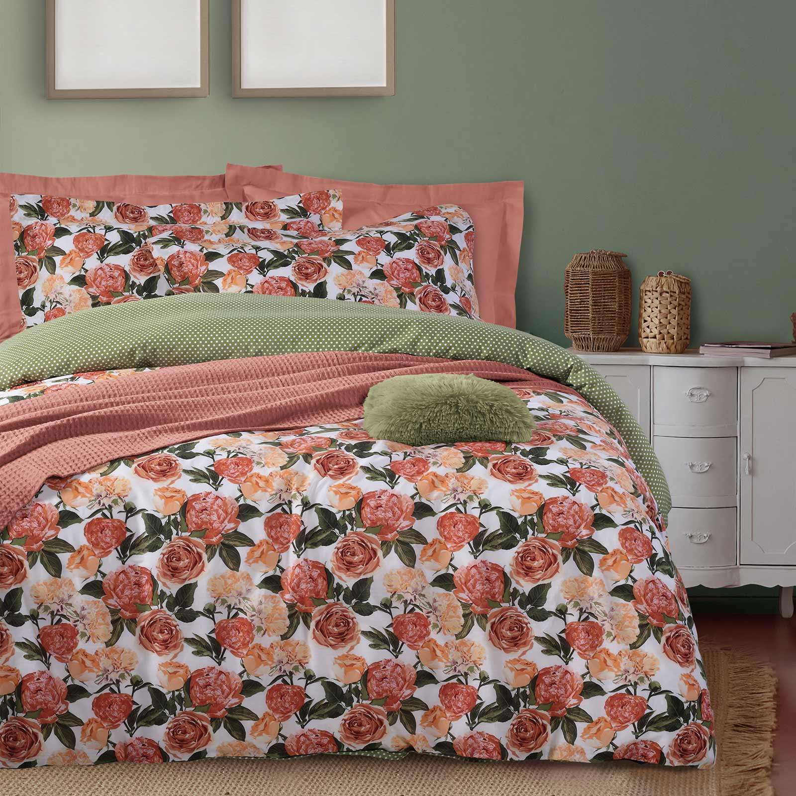 Das Home Σετ Παπλωματοθηκη Υπερδιπλη Happy 9540 Κοραλι – Πρασινο – Ροζ