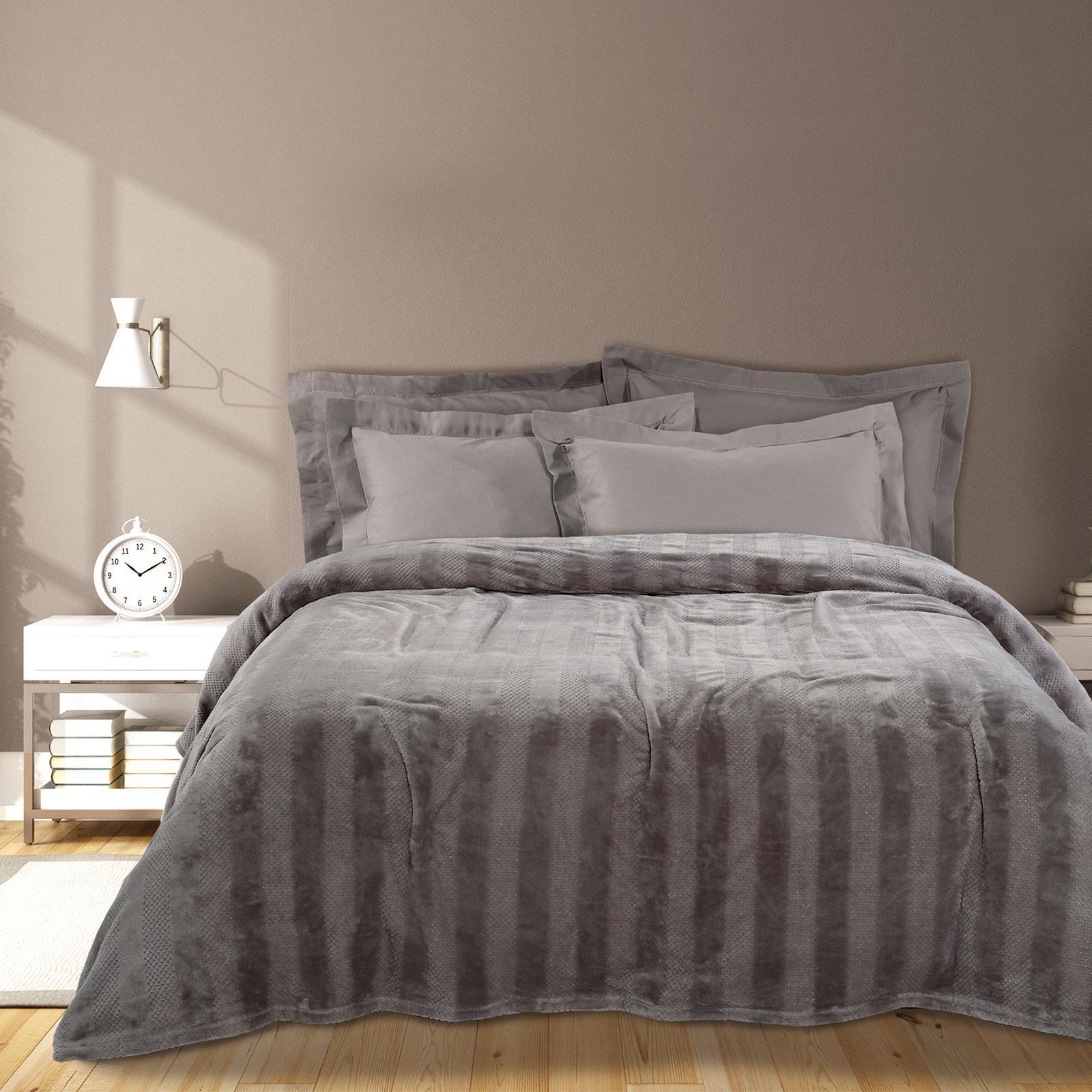 Das Home Κουβερτα Fleece 160Χ220 0465 Γκρι