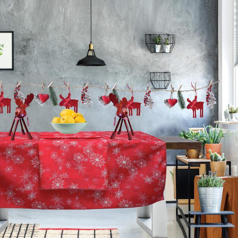 0553 Das Home Christmas Τραπεζομάντηλο 140x180 Κόκκινο-Λευκό