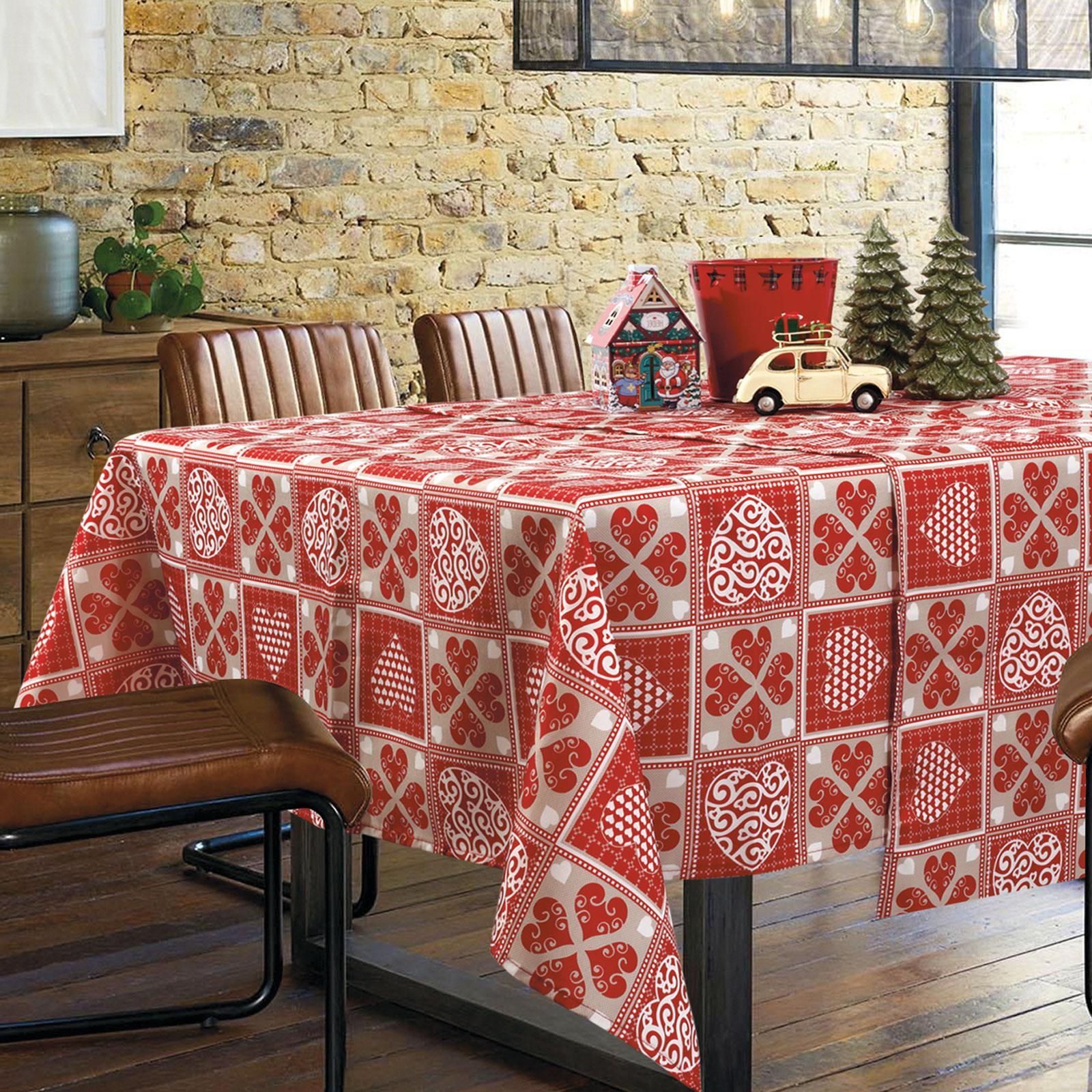 0572 Das Home Christmas Τραπεζομάντηλο 140x180 Μπεζ-Κόκκινο