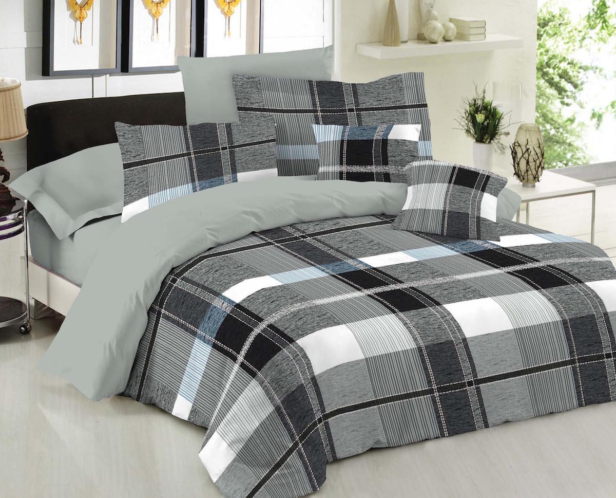 Παπλωματοθήκη Le Blanc Premium Cotton 100% Squares Grey Υπέρδιπλη 220×240